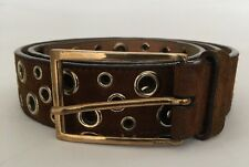 "PRADA Men's Ladies Unisex Rust Brown Suede Punched Hole Detail Belt 34"" 85cm"