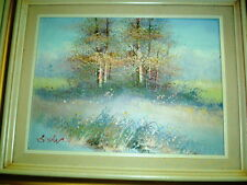 PASTEL SURREALISM SUMMER painting signed Swan