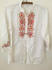 Charter Club White Embroidered Peasant Tunic Top Resort Wear Linen 8P