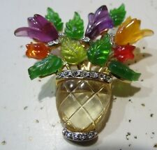 Vintage Jelly Belly Carved Lucite Plastic Flower Vase Brooch Pin Marked JC