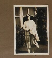 3 vintage 1920s photographs Lady in striped dress Drop waist White stockings