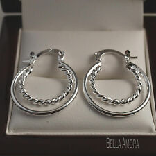 Sellada 925 plata esterlina pltd Doble Aro Twist Aro pendientes 25mm Reino Unido -41