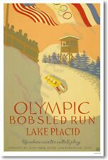 Olympic Bobsled Run Lake Placid - NEW Vintage 1932 Reproduction Art Print POSTER