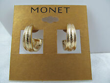 NWT MONET GOLD CHUNKY HOOP EARRINGS, Etched Design, Shiny, Medium Size