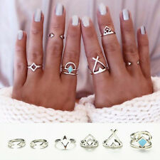 6X Vintage Beach Punk Geometry Ring Set Carved Boho Midi Finger Ring Knuckle YG
