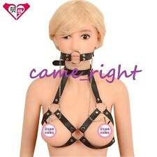 PU Strap Belt Head Metal O Ring Open Mouth+ Clips Clamps Kinky Costume Play Toy