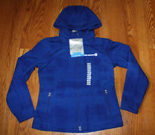 NWT Womens FREE COUNTRY Plaid Blue Softshell Outerwear Full Zip Jacket S Small