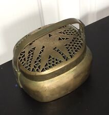 Antique Chinese Hand Warmer Brass Incense Burner Incenser 4 X 5 X 5""