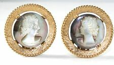 VINTAGE GORGEOUS PANETTA MOTHER OF PEARL CAMEO CLIP EARRINGS