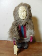 "RARE VINTAGE SIBERIAN~RUSSIAN~DOLL ""CHUKCHI MAN WITH A SALMON"" 10""~HANDMADE!"