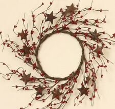 """WREATH RED SEED BERRIES AND RUSTY METAL STARS 12"""" OUTSIDE D, 6"""" CENTER D FLORAL"""
