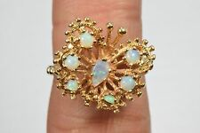 Women's 14k Solid Yellow Gold Opal .25 ct Beautiful Butterfly Ring Sizable 7