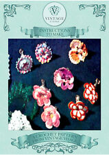 Vintage crochet pattern-how to make 4 prs pretty flower earrings,pins,brooches