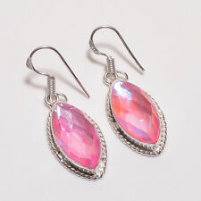 Faceted pink mystic topaz new arrival earrings pair .925 silver