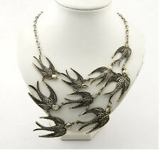 Lady Hot New Long Chain Necklace Antique Bronze 9 Swallows Sparrow Birds Pendant