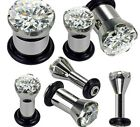 1 Clear Gem Single Flare Ear Plug Tunnel - 16mm 14mm 12mm 00g 0g 2g 4g 6g 8g 10g