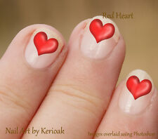 Red Heart,  Set of 24 Romantic Nail Art Stickers Decals