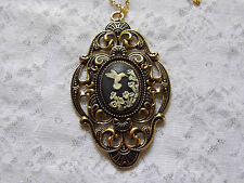 #JRK902 Gold Hummingbird Necklace Pendant Victorian Cameo Keepsake Mourning Love