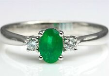"""Natural Oval Emerald & Diamond Engagement Ring In Solid 18K White Gold Size """"M"""""""