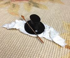 Pat Tyler Dollhouse Miniature Top Hat Silk Drape Scarf Riding Hunt Crop Whip