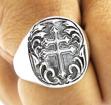 KNIGHT CROSS OF LORRAINE HERALDIC ARMS SOLID STERLING 925 SILVER RING Sz 11