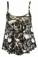 NEW WOMENS SKULL ROSE PRINT LADIES STRAPPY CAMI VEST CROP TOPS UK SIZE 8-14