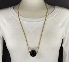 """Black big huge faux pearl necklace bead beaded 29"""" long statement sweater gold"""