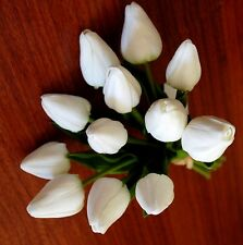 1x Latex Real Touch White Tulip Tulips Posy Wedding Flower Bouquet Fake Flowers