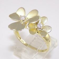 Sterling Silver Gold Vermeil Multi Flower CZ Ring Size 9