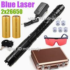 World Powerful Zoomable Burning Blue Laser Pointer Laser Pen Torch 2x26650 BATT