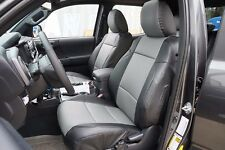 TOYOTA TACOMA 2016- BLACK/GREY S.LEATHER CUSTOM MADE FIT FRONT SEAT COVER