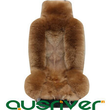 Premium Brown Australian Wolf Sheep Skin Car Long Wool Front Rear Seat Cover Set