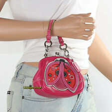 New Coach Lady Bug Leather Top Handle Kisslock Frame Bag 3565 Pink NEW RARE