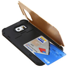 For Samsung Galaxy S6 - HARD TPU GUMMY GOLD CREDIT CARD WALLET SLOT CASE COVER