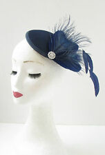 Navy Blue Silver Peacock Feather Fascinator Hair Clip Headpiece Vtg Races 346