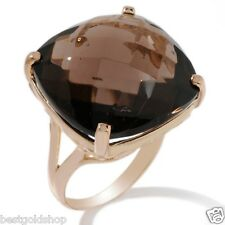Size 6.5 Technibond 27ct Genuine Smoky Topaz Ring 14K Yellow Gold Clad Silver