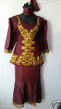 Women African Skirt Suit Attire Outfit Boho Dashiki Ethnic Brown Free Size