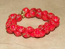 Vintage Hand Painted Molded Red Glass Button Stretch Bangle Bracelet