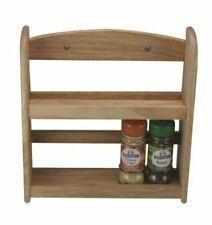 2 TIER WOODEN SPICE RACK JAR HOLDER STAND WALL MOUNTED NATURAL HEVEA WOOD