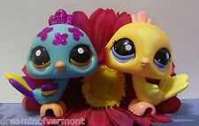 Littlest Pet Shop - Tangerine & Teal Blue Sparkle Peacocks #1893 & 2483 New