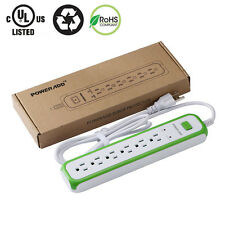 6-Outlet Socket Power Strip Surge Protector Lightningproof Right-Angled Plug US