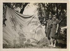 PHOTO ANCIENNE - VINTAGE SNAPSHOT - SCOUT SCOUTISME JEANNETTE TENTE DRÔLE 1929