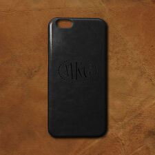 Personalized Monogram iPhone 6/6s Plus PU Leather Case - Black - Engraved in USA