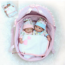 """Silicone Lifelike Baby Doll 10"""" Preemie Bebes Reborn Twins Boy And Girl Doll Toy"""