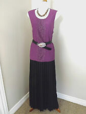 NEW Coldwater Creek Pleated Maxi Skirt M 10 12 Black Long Chiffon Womens
