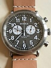 RARE New $750+ Shinola Contrast Chrono 47mm Watch Brown/Gray,Stainless,Leather