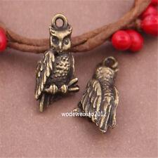 10pc Antique Bronze Charms owl Pendant Accessories Bead wholesale PL401