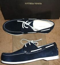 NEW NIB $890 BOTTEGA VENETA Mens intrecciato Suede Deck Loafers SHOES 42 8 navy