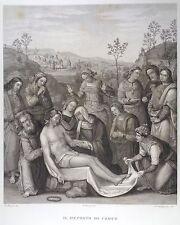 Stampa Antica Gesù Cristo Deposizione Perugino Guadagnini Pitti Bardi