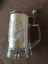 NFL Beer Stein Pewter Football Handle and Lid Glass Mug Made in Germany 7 3/4""
